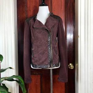 Free People purple & faux leather moto jacket